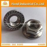 Porca hexagonal com flange serrilhado de aço inoxidável DIN6923
