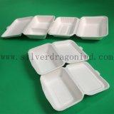 O branco biodegradável leva embora a caixa de almoço de papel descartável com 2comp