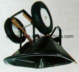 Wheelbarrow plástico das rodas da bandeja dois com punho de madeira