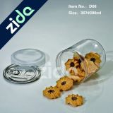 Tarro plástico del caramelo de la boca del claro 210ml de la muestra libre del claro ancho redondo del alimento, tarro plástico de la galleta transparente para la venta