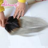 Закрытие шнурка волос Ombre 1b/Grey прямое бразильское с средней частью