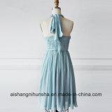 Halter женщин сладостный голубой отбортовывая Ruched платье Bridesmaid