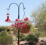 花のための緑色の鋼鉄ハングのバスケット