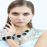 Nuevo conjunto de la joyería del pendiente de la pulsera del collar de la manera de la resina del negro del diseño
