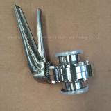 Alta calidad tri válvulas de mariposa del trébol de 1.5 pulgadas con la maneta del agarrador