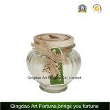 Conteneur en verre clair Shaped de choc avec le couvercle en bois pour le fournisseur à la maison de décoration