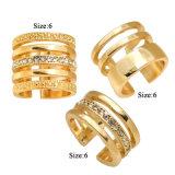 Anillos de compromiso cristalinos abiertos de par en par exquisitos determinados del anillo del anillo de múltiples capas para las mujeres en oro