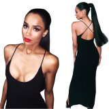 Robe monopièce de crayon de jupe de supports en travers Backless de Madame Hot Selling Sexy Black