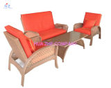 Sell quente - a tabela de vime do sofá do Rattan amorteceu o jogo da mobília do pátio do jardim