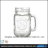 Transparentes Glasglas-Maurer-Glas mit Firmenzeichen