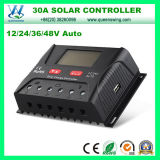 12/24/36/48V LCD表示(QWP-SR-HP4830A)が付いている太陽エネルギーシステム30A太陽コントローラ