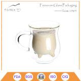 二重壁のガラスミルクのマグ