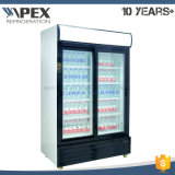 LG-1000d Double Swing Door Supermarché Beverage Refrigerator Upright Showcase
