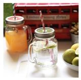 Nouveauté promotionnelle 16oz Plastic Mason Jar with Straw
