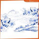 Het Blauwe & Witte Digitale Afgedrukte Chinese Schilderen van het Landschap voor de Decoratie van het Huis