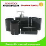 Negro accesorios de baño de cerámica con cristales de color Defferent