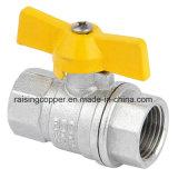 Латунный шариковый клапан с желтой ручкой Bufferfly для газа