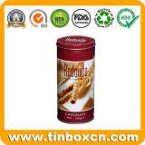 Recipiente redondo de metal con grado alimenticio, caja de estaño
