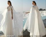 Vestido de casamento feito sob encomenda A125 do xaile Chiffon Sleeveless do laço dos vestidos nupciais da praia