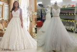 Линия Neckline ви-образност плюс платье венчания размера отвесное открытое назад
