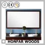 Frame de madeira cinzento quadrado do espelho para a decoração da parede do hotel