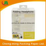 Papel Cartón encargo caja de embalaje con ventana de PVC para el auricular