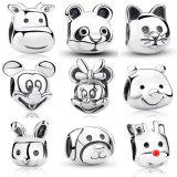 100% 925 Echte Zilveren Charmes, Mickey, Minnie, Panda, Winnie, Kat, Konijn, Kalf, Hond, Rendier Rudolph, Parels voor Armband DIY