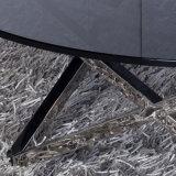 Table à manger en verre / table ovale vitreuse avec jambes en acier inoxydable (Jk-A1027)
