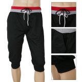 Pantalones de sudor del algodón de los hombres de la fábrica que hacen punto cortocircuitos de las medias de la gimnasia
