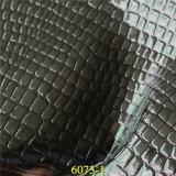 Cuero sintetizado vendedor caliente del material de la PU del grano clásico del cocodrilo
