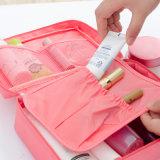 Saco de nylon do cosmético da composição do curso do Zipper dos compartimentos múltiplos impermeáveis luxuosos do punho