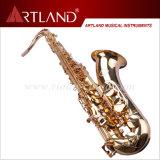 Saxophone professionnel de teneur en fini d'or principal de laque de Bb (ATS4506)