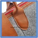 Bolso de compras de cuero portable respetuoso del medio ambiente de las lanas Felt+Genuine del diseño simple, bolso de totalizador ocasional modificado para requisitos particulares del regalo de la promoción con el Closing de la cremallera (el contenido de las lanas es el 70%)