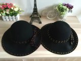 Chapéu de feltro preto do jogador do Cloche do lazer para a mulher