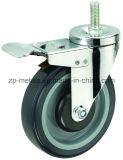 ruedas biaxiales de tamaño mediano del echador del tornillo de la PU 4inch con el freno
