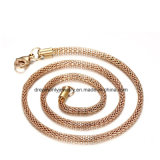 Chaîne d'or de Rose de bijou de mode, collier de matériau d'alliage de cuivre