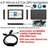 """Navigation marine du camion GPS de véhicule de la vente chaude 4.3 """" avec la CPU duelle de 800 mégahertz de la crispation 6.0, émettrice FM, Poids du commerce-dans pour la navigation G-4303 de l'appareil-photo GPS de stationnement"""