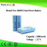 Batterie rechargeable du Li-ion 18650 du lithium 3.7V 2500mAh pour les éclairages LED solaires