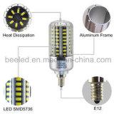 La luz E12 15W del maíz del LED refresca la lámpara de plata blanca del bulbo de la carrocería LED del color