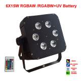 6X15W Rgabw電池DMX無線LED PAR64のクリスマスの照明