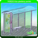 Abrigos de aluminio de la parada de omnibus con la publicidad del rectángulo doble de la luz pilota