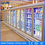 Refrigerador grande de la puerta de cristal de la bebida de la capacidad del supermercado con el compresor famoso