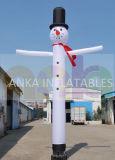 Mini bailarín publicitario ligero del aire del muñeco de nieve de la Navidad inflable agradable del diseño