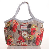 (2289) Imperméable PVC Floral Patterns Canvas Sac fourré gris