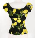 Ultimi disegni della camicia per la parte superiore su ordinazione del raccolto della donna di stampa della maglietta delle donne fuori dalla spalla