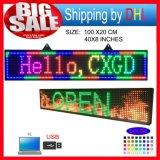 Table des messages d'étalage de défilement de P10 RVB DEL/signes polychromes d'intérieur de l'ordinateur USB Programmablefor DEL de support d'affichage à LED