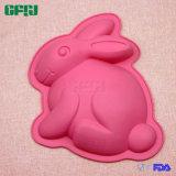 Moulage de gâteau de silicones de catégorie comestible de FDA de lapin de jour de Pâques de cadeau de promotion