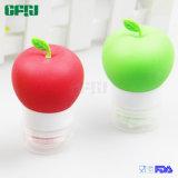 Botella portable pomiforme roja/del verde del silicón del cosmético