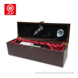 Single Latch Wooden Red Bottle Gift Wine Box com ferramentas