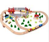 Brinquedo ajustado do trem de madeira novo da forma 92PCS para miúdos e crianças